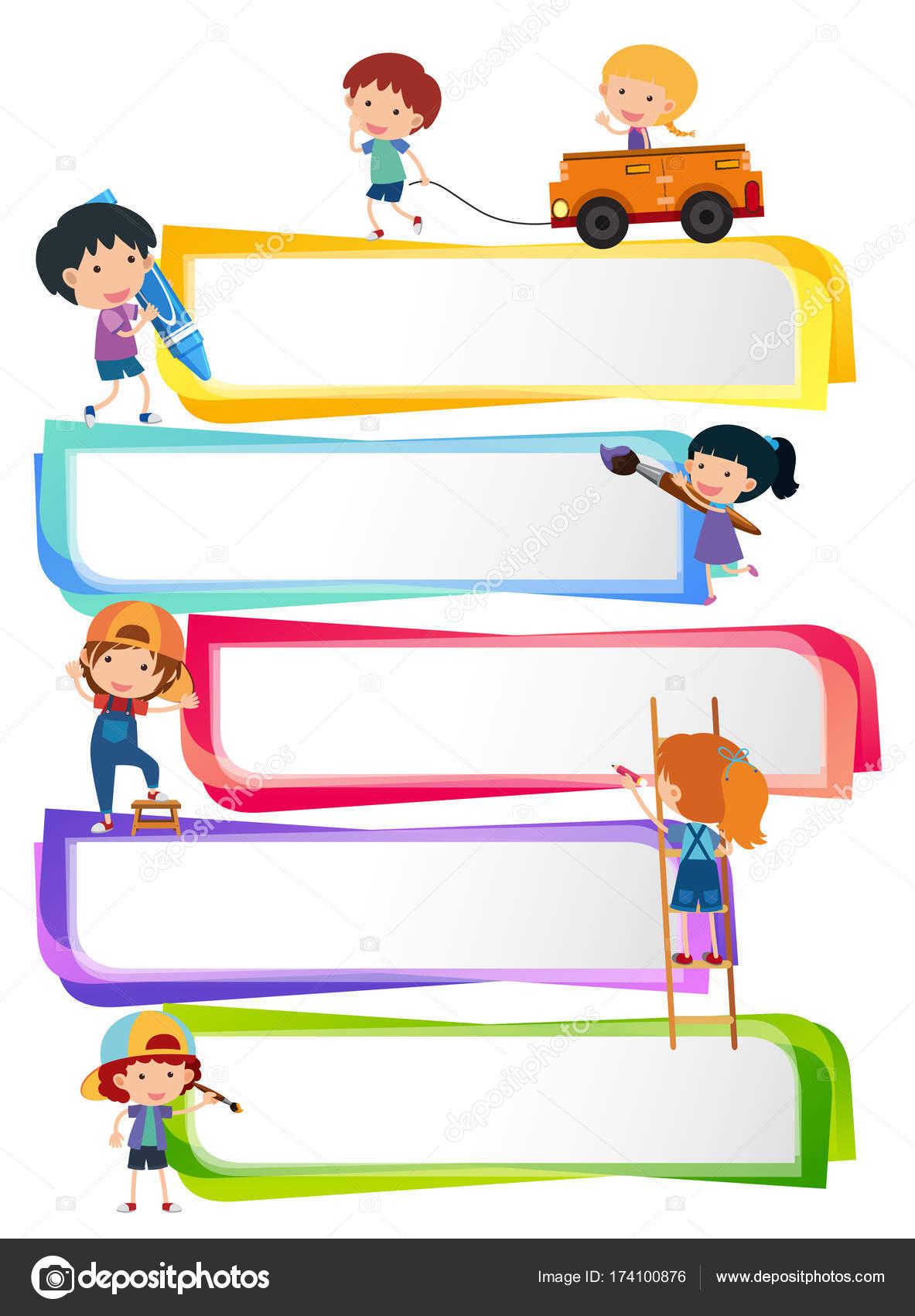 Etiquetas plantillas con niños felices — Archivo Imágenes ...