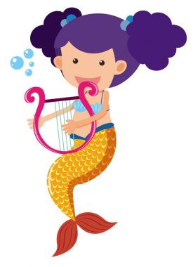 Cute mermaid playing harp