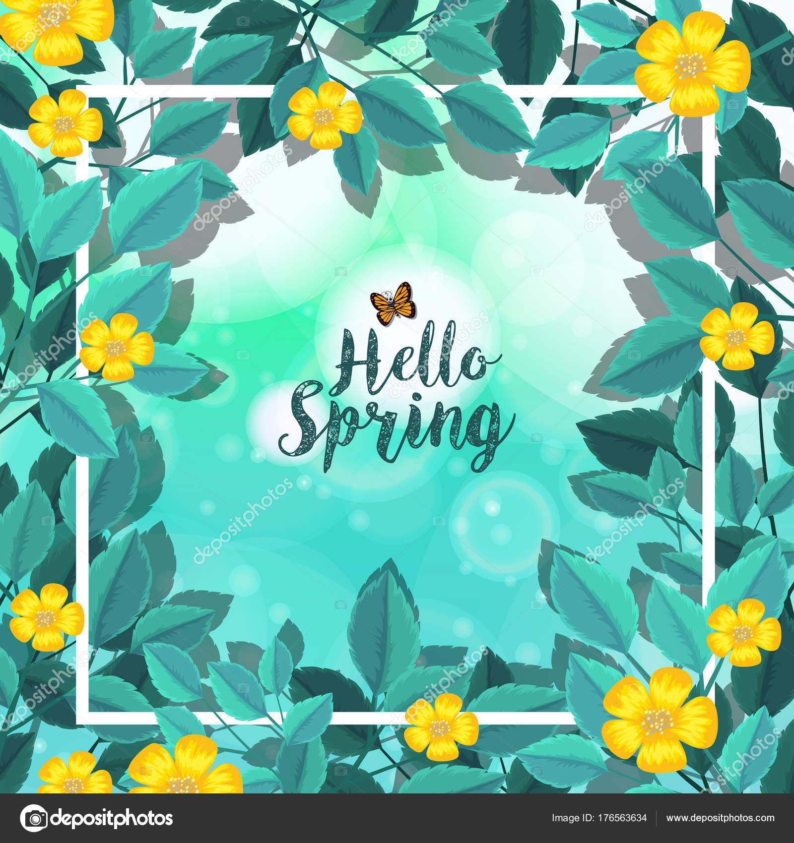 Border Template With Yellow Flowers Stock Vector Brgfx 176563634