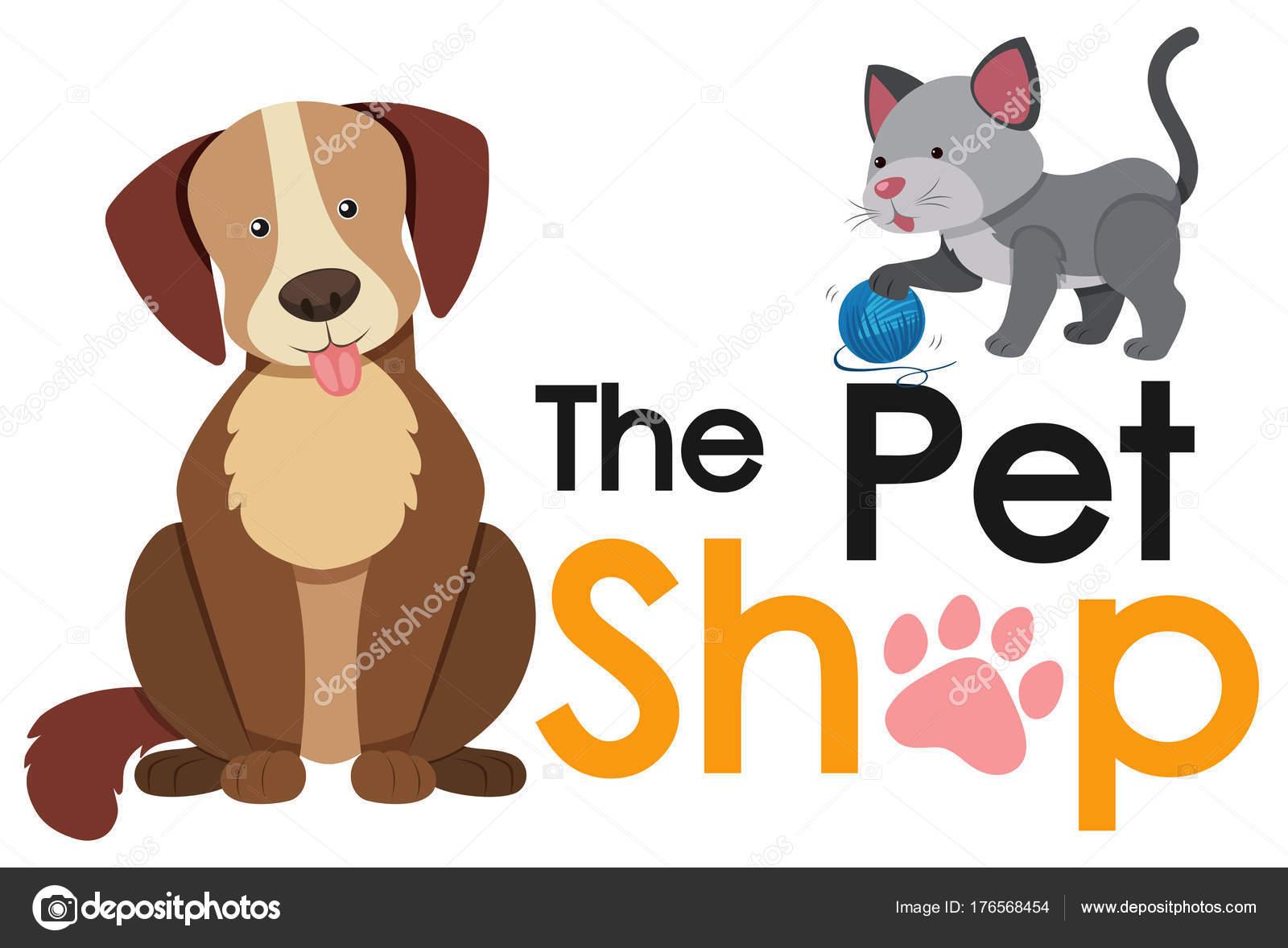Disegno Del Manifesto Di Negozio Di Animali Con Cane E Gatto