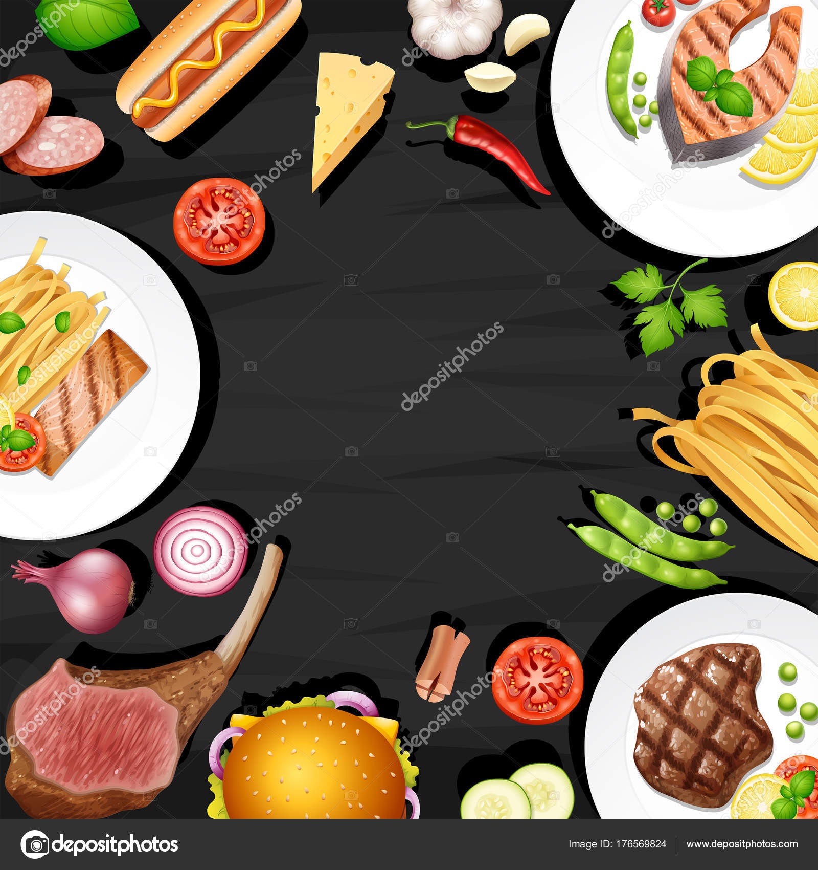 border design with different kinds of food stock vector brgfx
