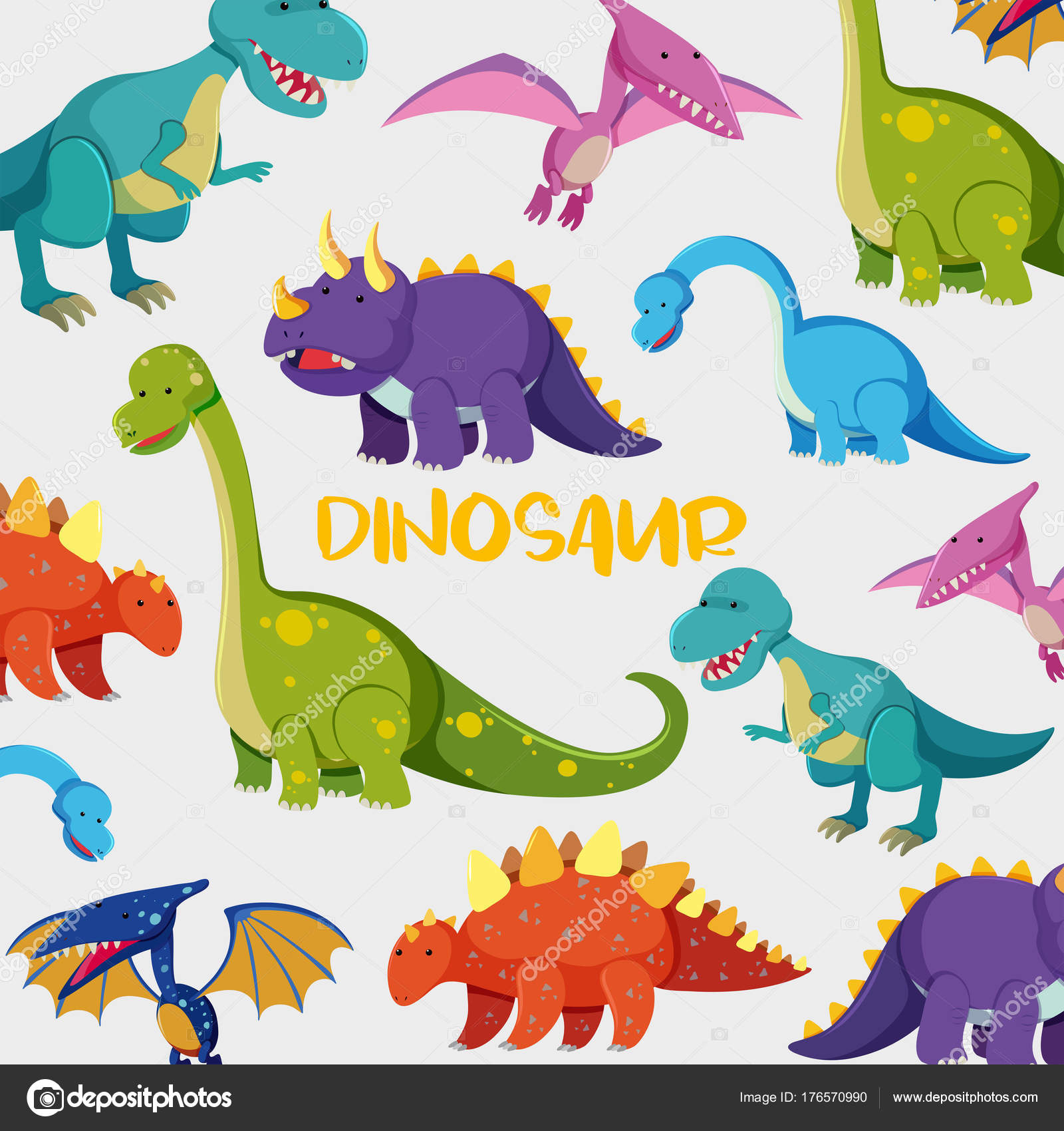 Background Design With Many Cute Dinosaurs Stock Vector C Brgfx
