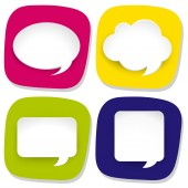 Four icons with speech bubbles