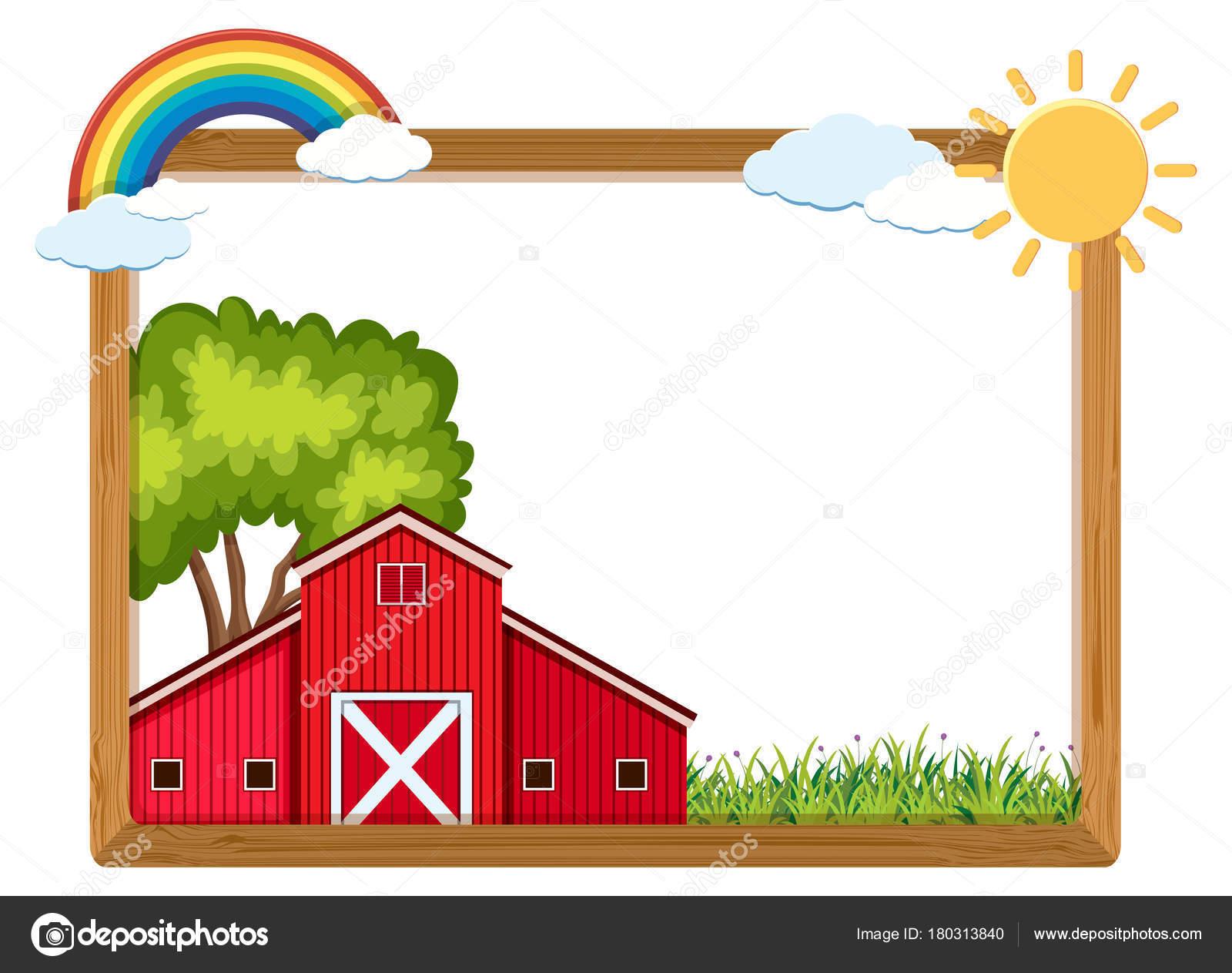 Holzrahmen mit roten Scheune und Regenbogen — Stockvektor © brgfx ...