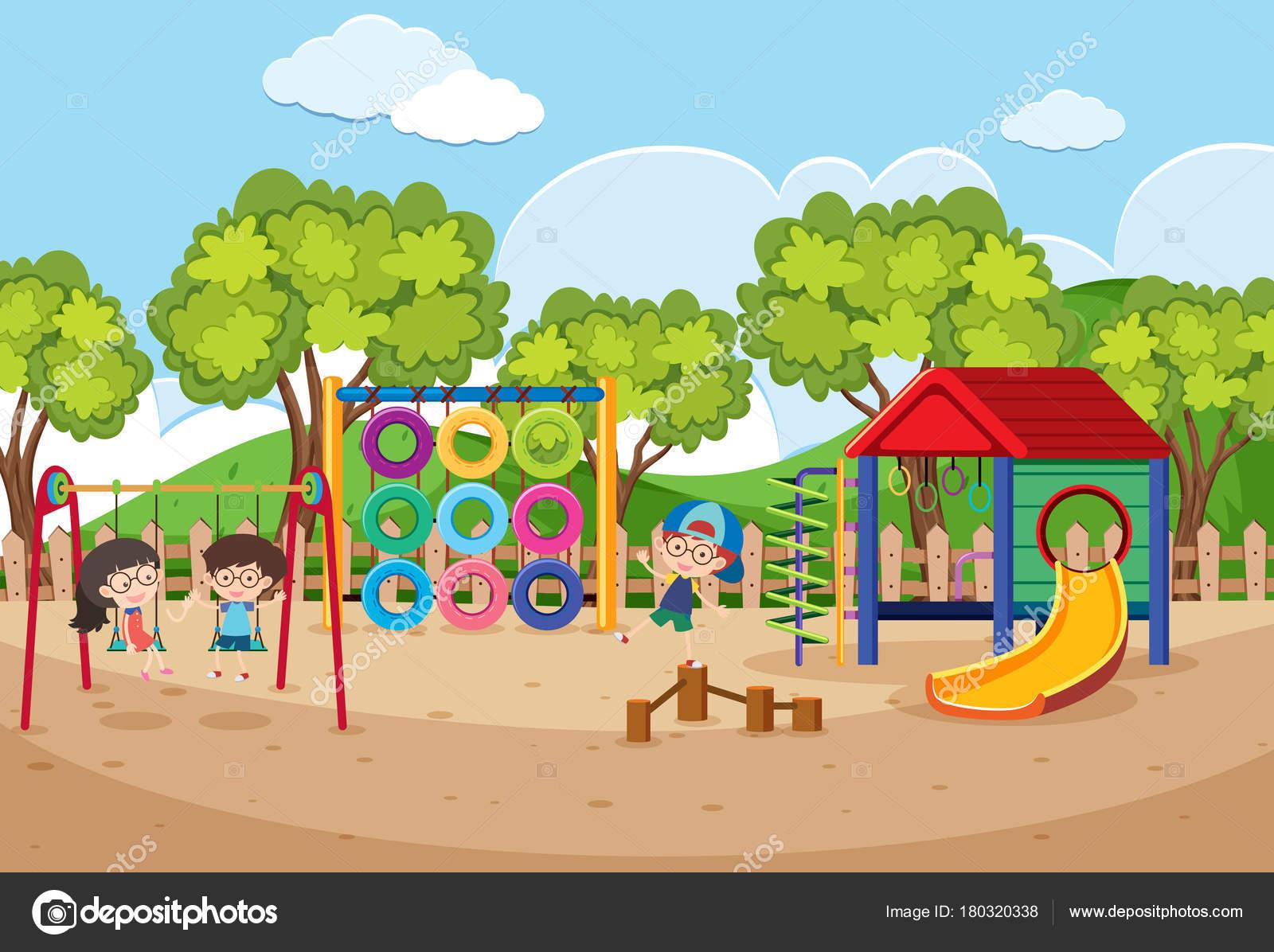 昼間の遊び場で遊んでいる子供たち — ストックベクター © brgfx #180320338