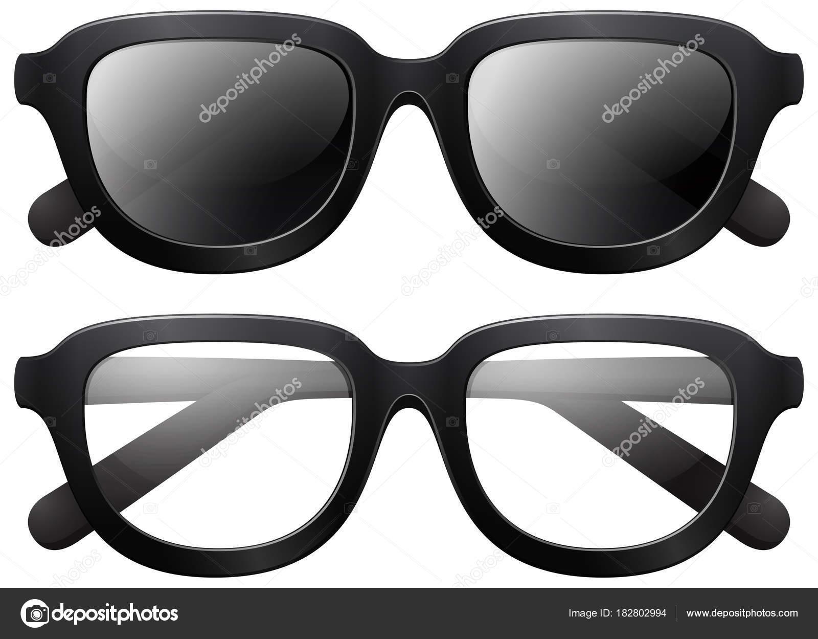 Brillen und Sonnenbrillen mit schwarzen Rahmen — Stockvektor © brgfx ...