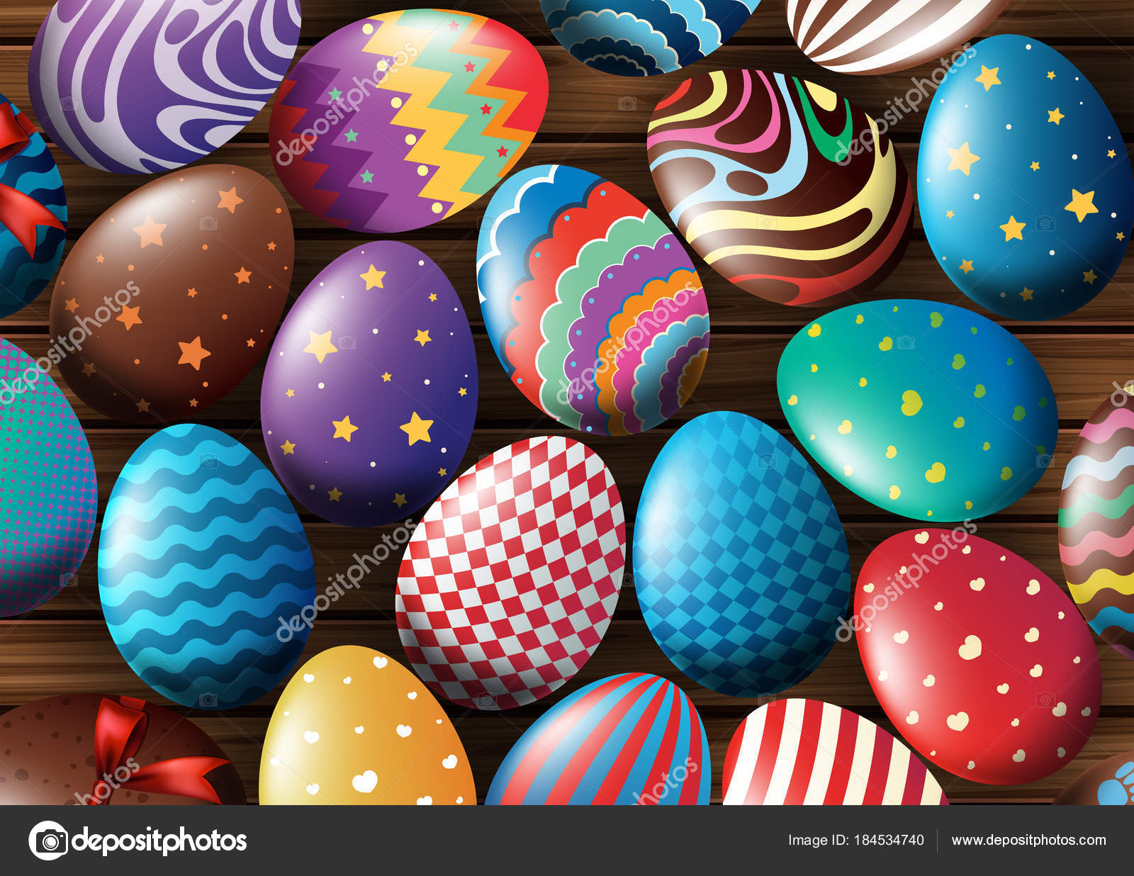 Background Design With Decorated Eggs Stock Vector C Brgfx 184534740