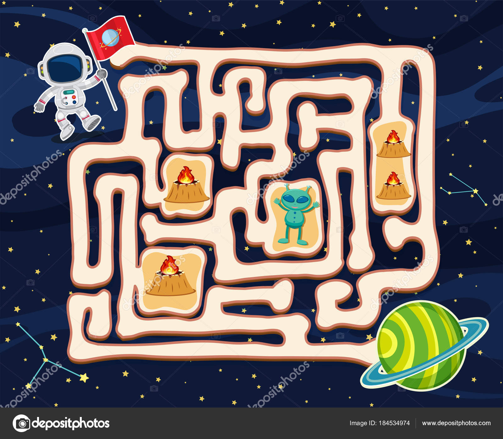 Maze game template with alien in space — Stock Vector © brgfx #184534974