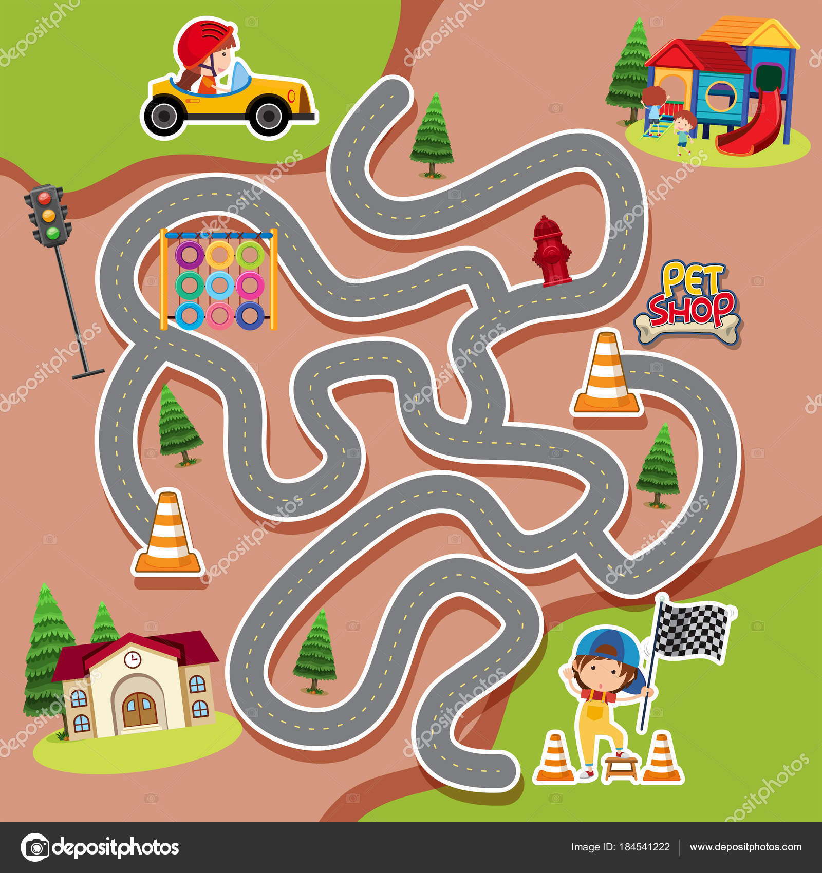 Maze Game Template With Kid In Racing Car Stock Vector Brgfx
