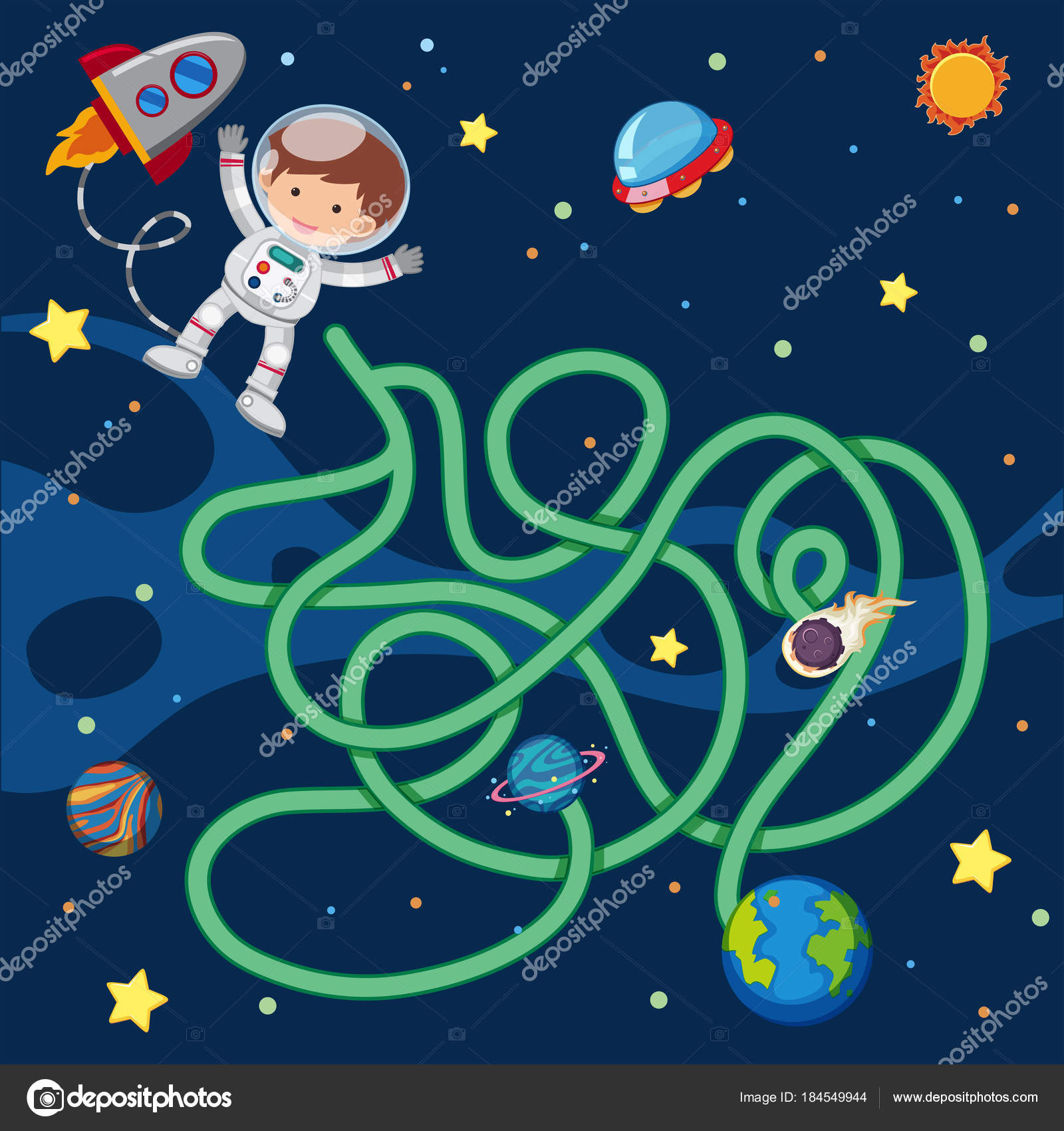puzzle game template with astronaut flying in space stock vector
