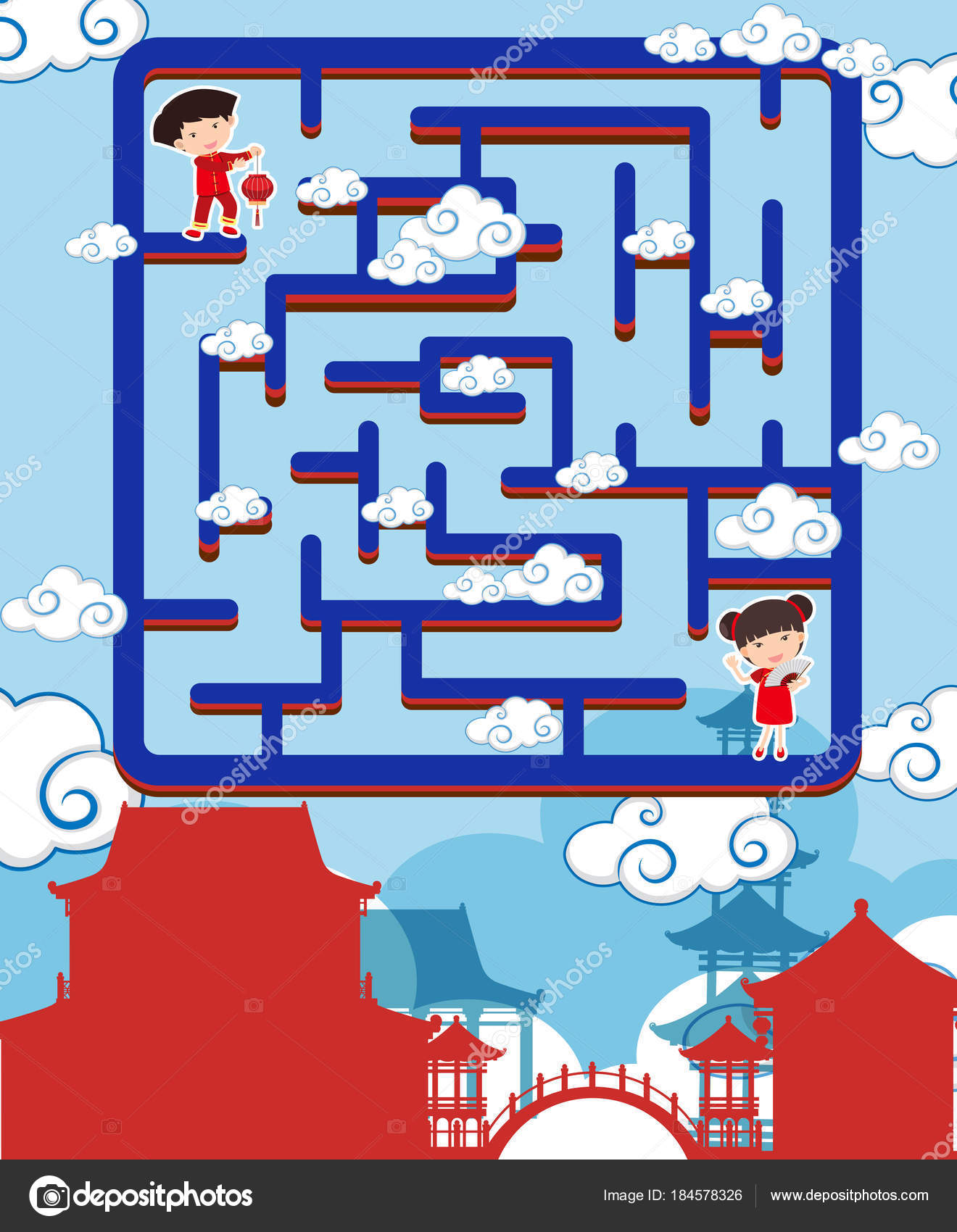 maze game template with chinese boy and girl stock vector brgfx