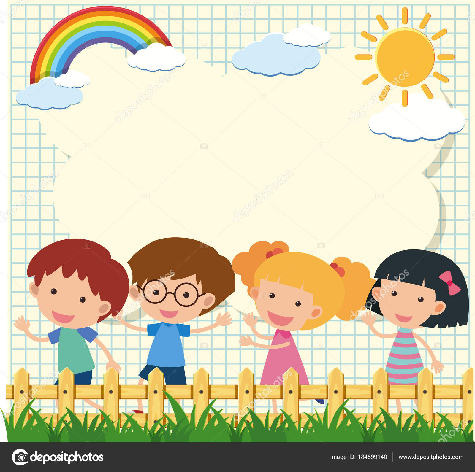 Border template with four kids in garden — Stock Vector ...