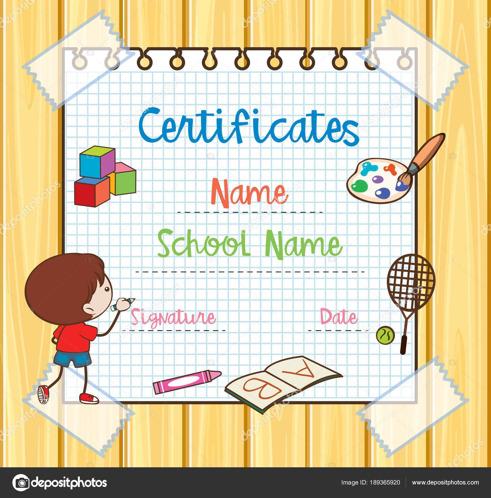 Plantilla de certificado con niños dibujo — Archivo Imágenes ...