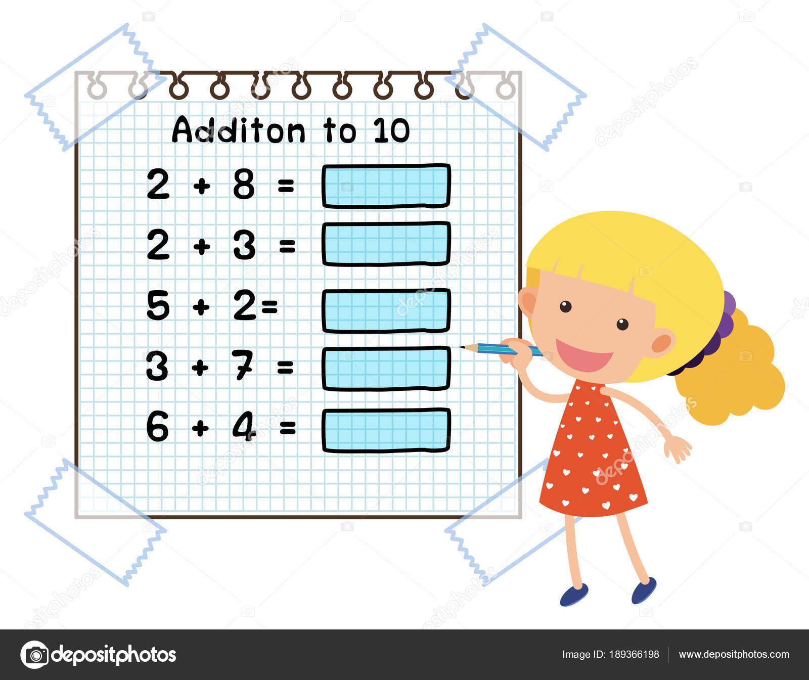 Mathematik-Arbeitsblatt für die Addition bis 10 — Stockvektor ...