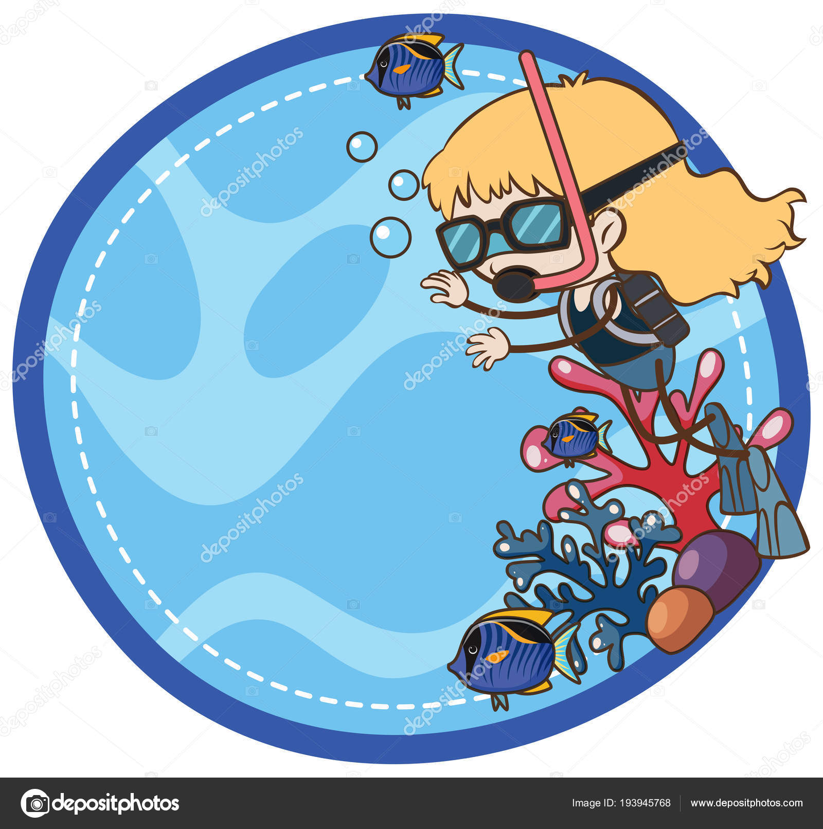A Girl Scuba Diving Template Illustration Vector By Brgfx