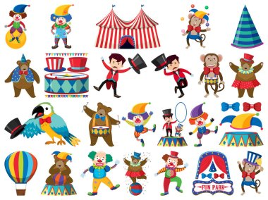 Large set of isolated objects of circus