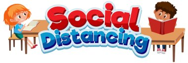 Font design for phrase social distancing and happy children illustration