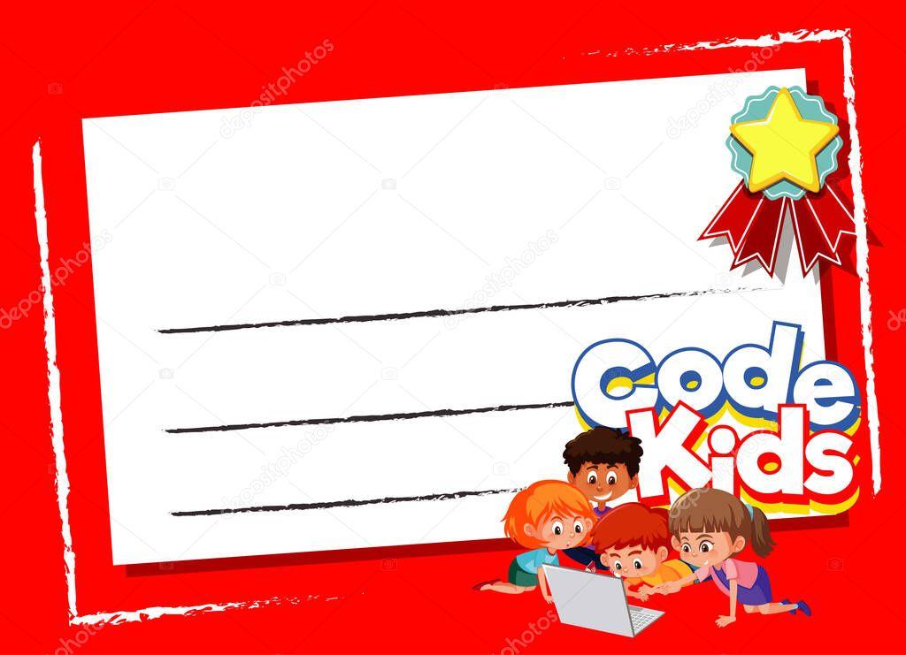 Background Design Template With Kids Using Computer Illustration Premium Vector In Adobe Illustrator Ai Ai Format Encapsulated Postscript Eps Eps Format