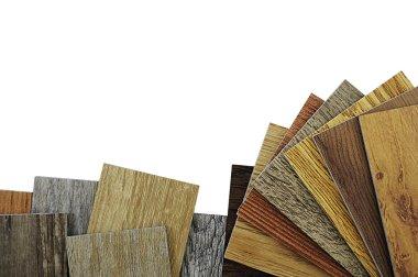 wood texture floor. Samples of laminate and vinyl floor tile on
