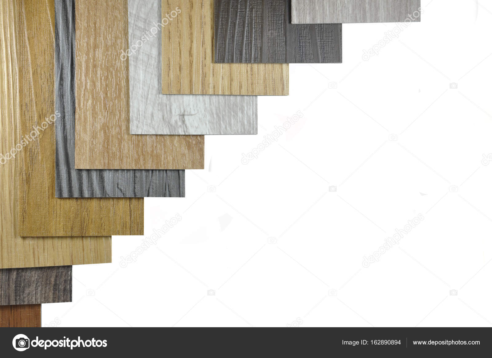 Houtstructuur vloer monsters van laminaat en vinyl vloer tegel op w