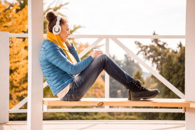 Beautiful woman in headphones