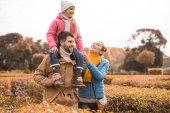 šťastná rodina procházky v parku
