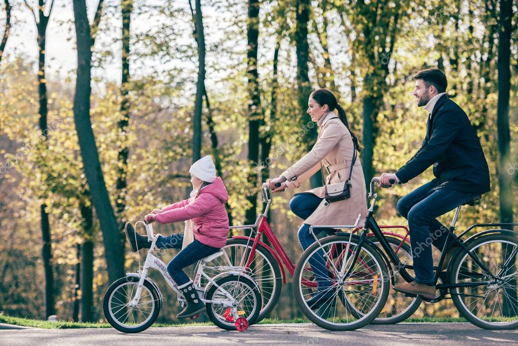 Happy family riding bikes in park