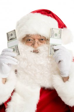Santa Claus showing dollar banknotes