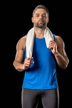 Sportsman with towel on neck