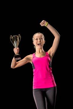 Sportswoman celebrating victory