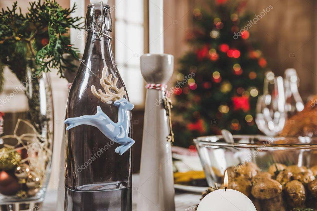 Christmas decorations on festive table