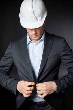 Male engineer in helmet