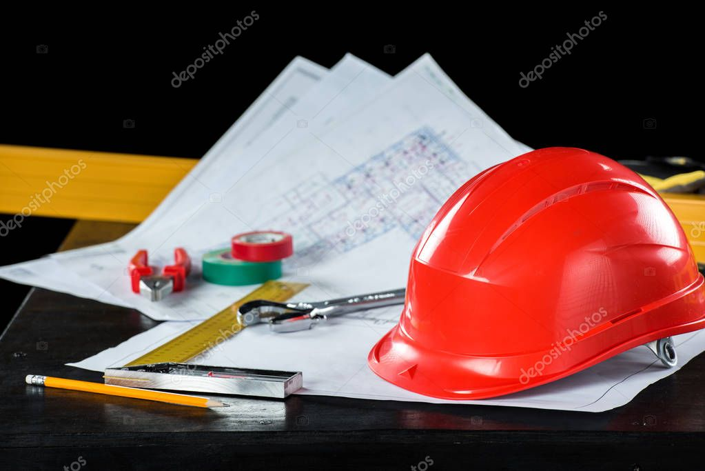 Engineering equipment on table