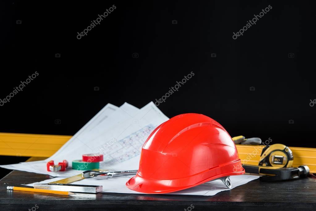 Engineering equipment on table