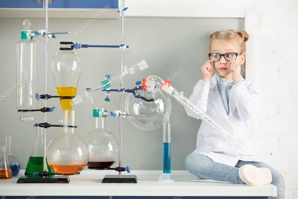 Little girl in laboratory