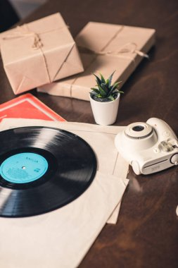 Vinyl record and camera