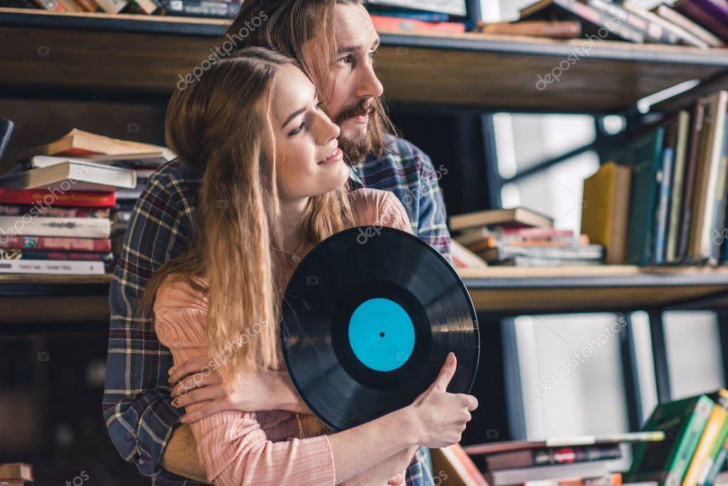 Couple with vinyl record