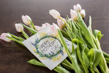 Mothers Day greeting card and flowers