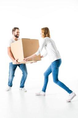 Couple with cardboard box