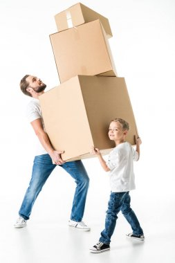 Father and son with boxes