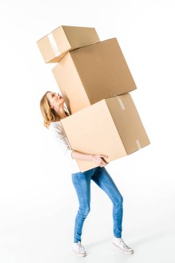 Young woman with boxes
