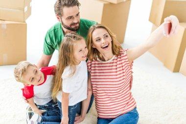 Family making selfie