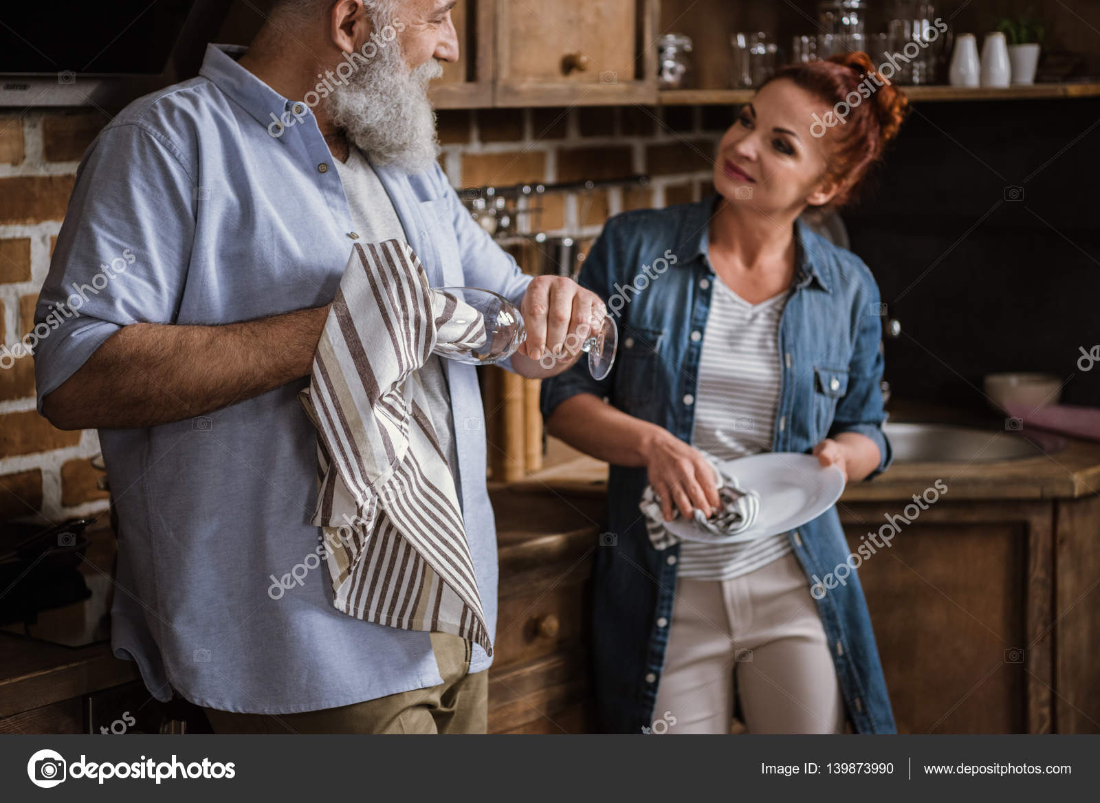Mature redhead kitchen