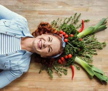 Woman in herb and vegetable crown