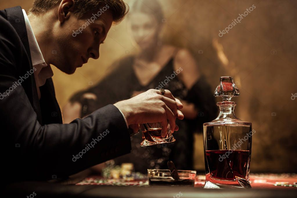 Man drinking whisky
