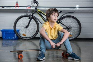 Little boy on skateboard