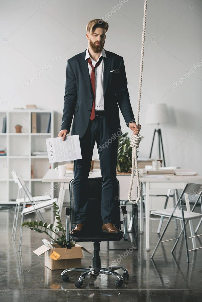 Businessman trying to hang himself