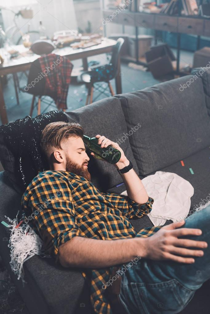 Young man after party