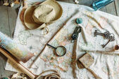 Fotografie Map and traveling items
