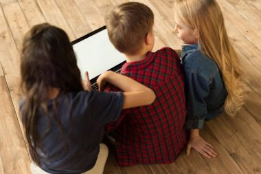 children using digital laptop
